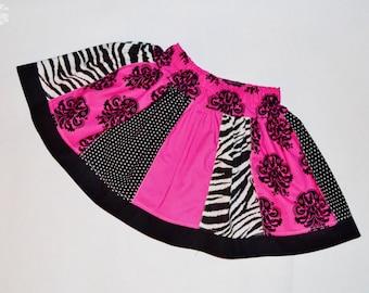 Girls Twirl Skirt, Pink and Black skirt, Panel SKirt