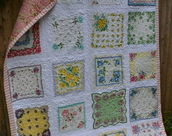 Vintage Hankie Quilt Small Twin Size Large Throw Size Handkerchief Shabby But Chic Elegant Cottage Chic Antique Hankies Traditional Quilt