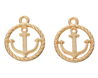 Gold Anchor Charms - Gold Plated - Carved Anchors - 19x16mm - 2pcs - Ships IMMEDIATELY from California - GC101
