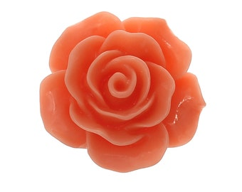 10 Cabochons 20mm - Orange Flower Cabochons - Resin - Embellishment - Flat Back - Ships IMMEDIATELY from California - C307