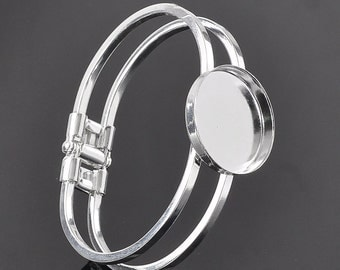 3 Bangle Bracelets - Silver Plated - Cabochon Setting - Fits 25mm Cabochons - 66x56mm - Ships IMMEDIATELY from California - A483