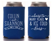 Custom Wedding Favor - Cheers to Many Years & Ice Cold Beers Can Coolers