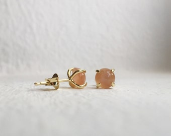 NEW Simple Everyday Earstuds - Peach Moonstone Earrings, Bridesmaids Gift, Gifts for Her