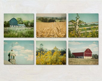 Country Photography Set of Six Prints, Retro Farmhouse Wall Decor, Bright Farm Photograph Collection, Barn Pictures, Green Blue Yellow Red