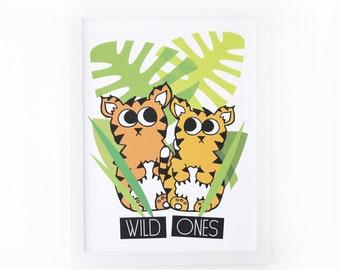 Wild Ones Art Print, Tiger Poster, Jungle Wall Art Kids Art Print Kids Jungle Print tiger Nursery Decor Baby Tigers Jungle