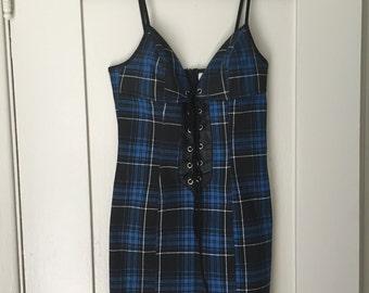 90s Lip Service Blue Plaid Dress