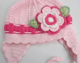 Flower Girls Hat, Winter Earflap Girls Hat, Flower Ear Flap Hat, Knit Hat Toddler Earflap Hat, Fall and Winter Accessories Girls Accessories