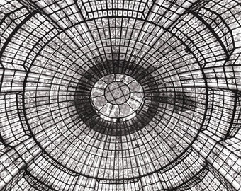 Paris Photography, Stained Glass Ceiling Printemps, Black and White Photo, Fine Art Travel Photograph, Large Wall Art, Paris Wall Decor