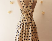 SS2016 Summer Dress Nautical Dress Vintage Inspired Dress Tea Dress Khaki with Navy Polka Dot Back Bow Dress Swing Dress -Size XS-XL, Custom