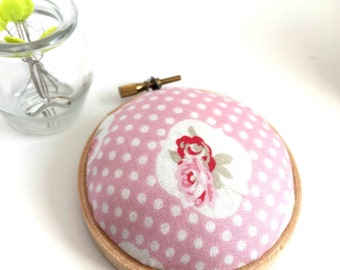Embroidery Hoop Pincushion: Pink Floral - Gifts for Mom. Needle Holder. Needle Minder. Sewing Accessory. Sewing Pin Holder