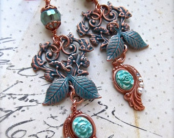 Aqua Copper Brass, Filigree and Leaves, Vintage Aqua Cameo, Hand Set Pearls, Czech Crystal Bead, Chandelier Earrings