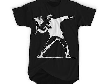 "BANKSY PROTEST"" Banksy Street Graffiti Artist T-shirt. Tshirts are Screenprinted with Enviromental Friendly Inks"