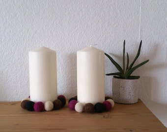Needle felted candle decor set of two handmade home decor gift under 25