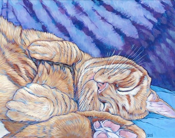 "Custom Pet Portrait Painting on Canvas in Acrylics 12"" x 16"" of One Cat, Kitten, Dog, Horse Other Animal. Hand Painted One of a Kind Art."
