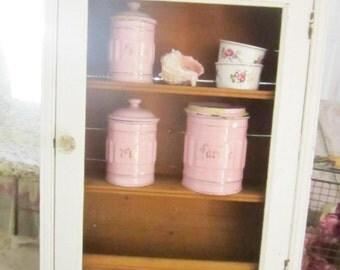 Shabby cupboard  white glass door FREE SHIPPING shabby chic    prairie