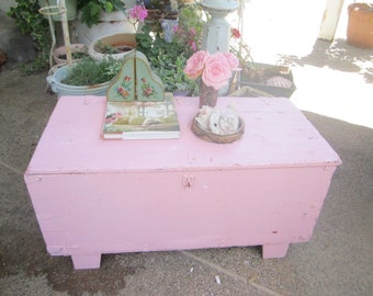 Shabby  Chippy vintage palest pink coffee table chest   shabby chic cottage chic