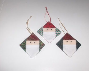 Set of 3 quilted Santa Claus ornaments