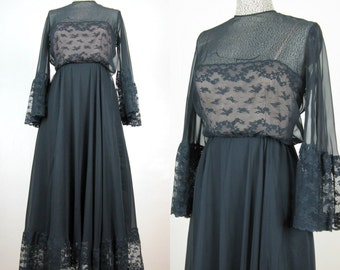 Vintage 1960s 60s Black Chiffon Gown with Illusion Neckline and Lace, Size 8/M