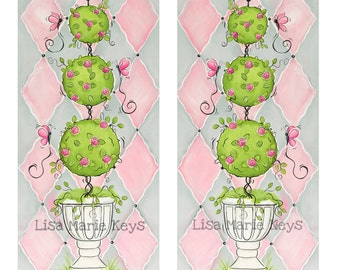 Grey & Pink Topiary Children's Wall Art Baby Girls Nursery Girls Room Art French Decor Princess Room Bathroom Art Print Princess Castle