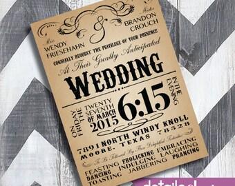 RUSTIC Invitation, Wedding, Rehearsal Dinner, Bridal Shower, Baby Shower - Digital Download