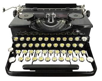 Vintage Royal Portable Typewriter 1930s, Glossy Model OT, Refurbished