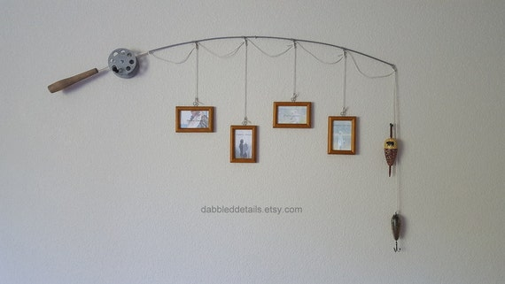 Fishing Pole Picture Frame - Silver or Brown Pole - 4 - 2 1/4 in x 3 1/2 in Picture Frames - Dark Honey Stained
