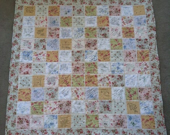 Funeral guest book signature quilt, custom made