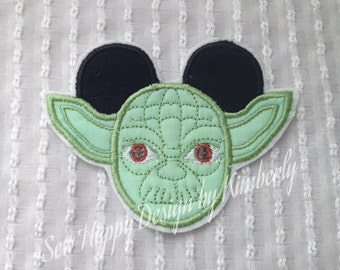 Yoda Inspired MOUSE Head Characters  Iron on  Appliqué Patch