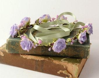 Spring Flower Crown, Floral Headpiece with Berries, lilac lavender purple whimsical woodland wedding, bridal headband, boho hair piece, halo
