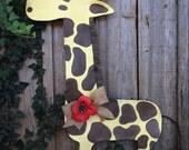 Yellow and Brown Spotted Giraffe Door Hanger Wreath