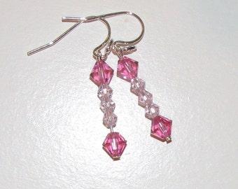 Pink Swarovski bead Earrings