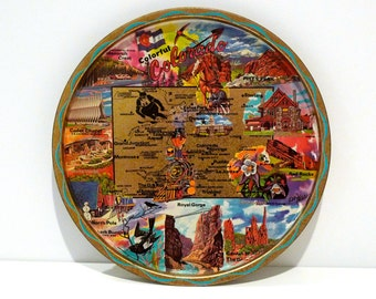 Colorado Serving Tray Ken Haag Souvenir Plate Vintage Colorful Colorado State Royal Gorge North Pole Pikes Peak 1960s Metal Decorative Plate