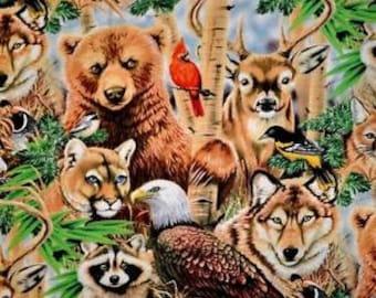 Wildlife Fabric, Eagle Fabric, Deer Fabric, Elk Fabric, Bear Fabric, Moose Fabric, World's Wildlife by Elizabeth Studios, 1 Yard Fabric
