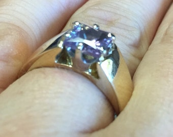 HEAVY  7.5  grams   yellow 14KT gold   heavy engagment ring   Classic   1 Carat Synthetic Alexandrite Square Cut