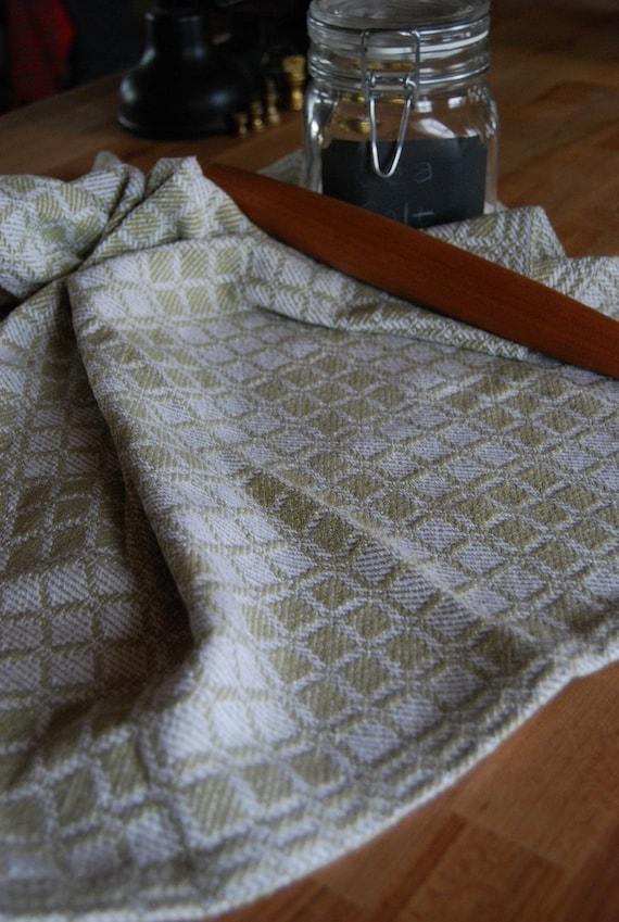 SALE Tea Towel Handwoven - Willow Classic Swedish Blocks Cotton