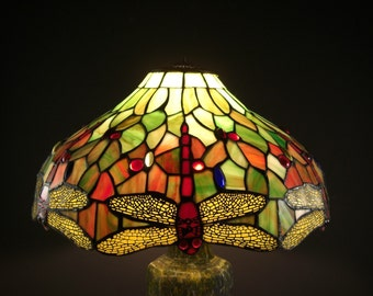 Stained Glass Lamp Shade Dragonflies is 16.5 inches