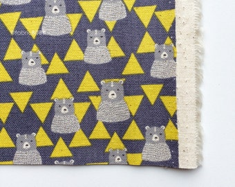 Triangle Bears in Yellow by Kokka Fabrics, Trefle Bears