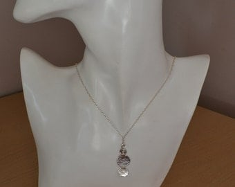 Sterling Silver Circles Pendant Contemporary Necklace