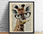 Brainy GIRAFFE Dictionary Art Print, Dorm Decor Teachers Gifts, Animal Wearing Glasses Antique Dictionary Book Page, Wall Art Poster Giclee