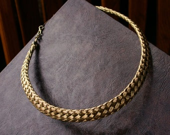 Gold Tone Woven Choker Necklace Sophisticated Wide Textured Gold Collar Adjustable Length Necklace