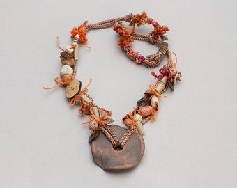Rustic ethnic necklace, statement tribal jewelry, long rustic necklace - orange brown beige - OOAK
