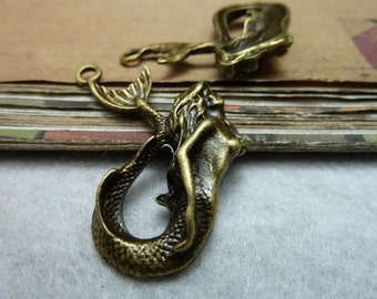 5pcs 30*40mm antique bronze mermaid  charms pendant C7953