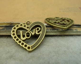 20pcs 25*25mm antique bronze love heart charms pendant C5076