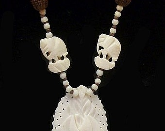 """Tribal White Pendant Necklace Carved Ox Bone & Brown Wooden Beads Barrel Clasp 28"""" Boho Vintage"""