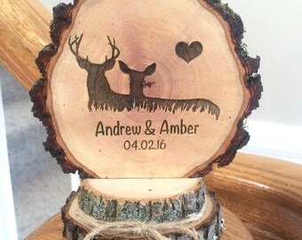 Rustic Deer Wedding Cake Topper / Woodland Wedding Topper / Personalized Topper / Engraved Topper / Deer Cake Topper / Custom Cake Topper