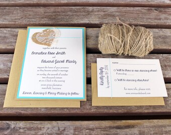 Burlap and Lace Wedding Invitations: Unique Handmade Sewn Heart Kraft Invites- Custom Colors