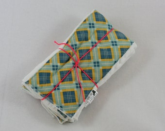 Set of 3 Blue and Yellow Argyle Burp Cloths