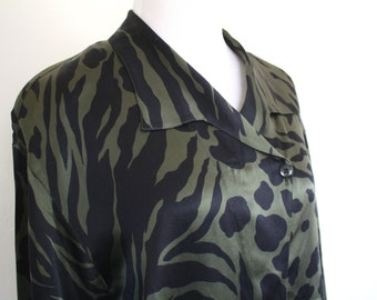 Easy 90's Escada Olive and Black Silk Blouse