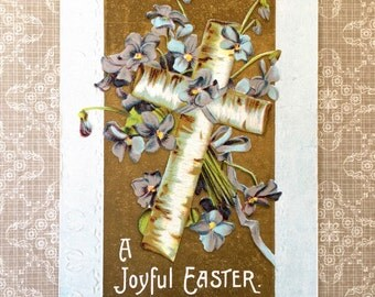 Pretty Edwardian Era Easter Postcard with Violets and Birch Bark Cross