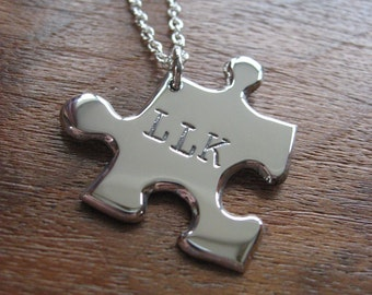 Personalised Silver Puzzle Pendant Necklace